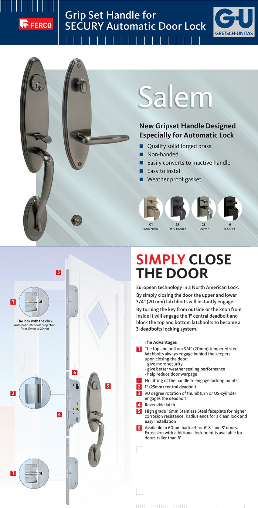 3 Point Lock Hardware Multipoint Lock Trim For