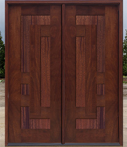 Arcadia Doors with Mahogany Panels