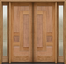 arcadia double doors all wood panels 2 sidelights