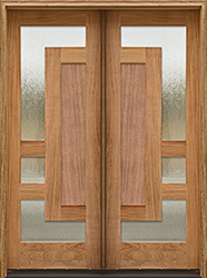 Arcadia Double Door with wood panels and glass