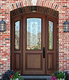 Arch top doors with iron