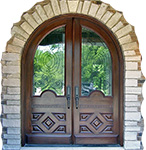 arched top exterior double doors with iron