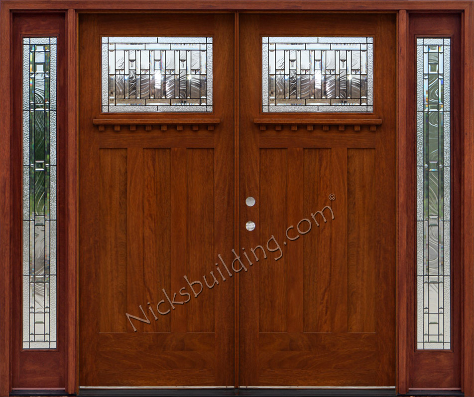 Craftsman double wood door with sidelights for Arts and crafts exterior doors