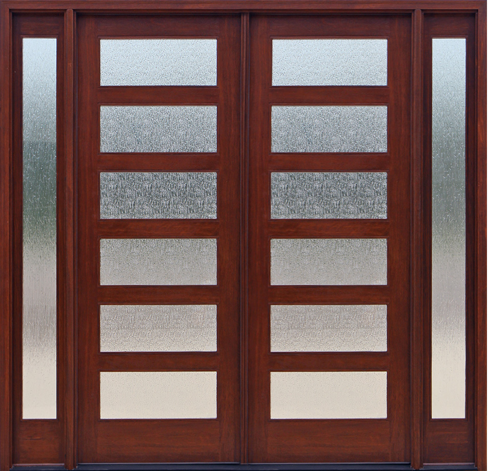 Craftsman double wood door with sidelights for Wood doors with sidelights