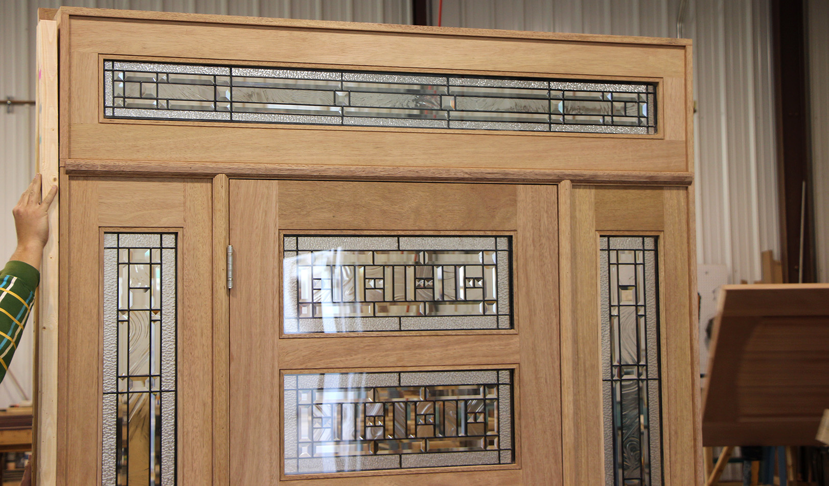 Entry doors with rectangular transoms 6 8 quot prehung -  Exterior Shaker Door And Transom Inside View