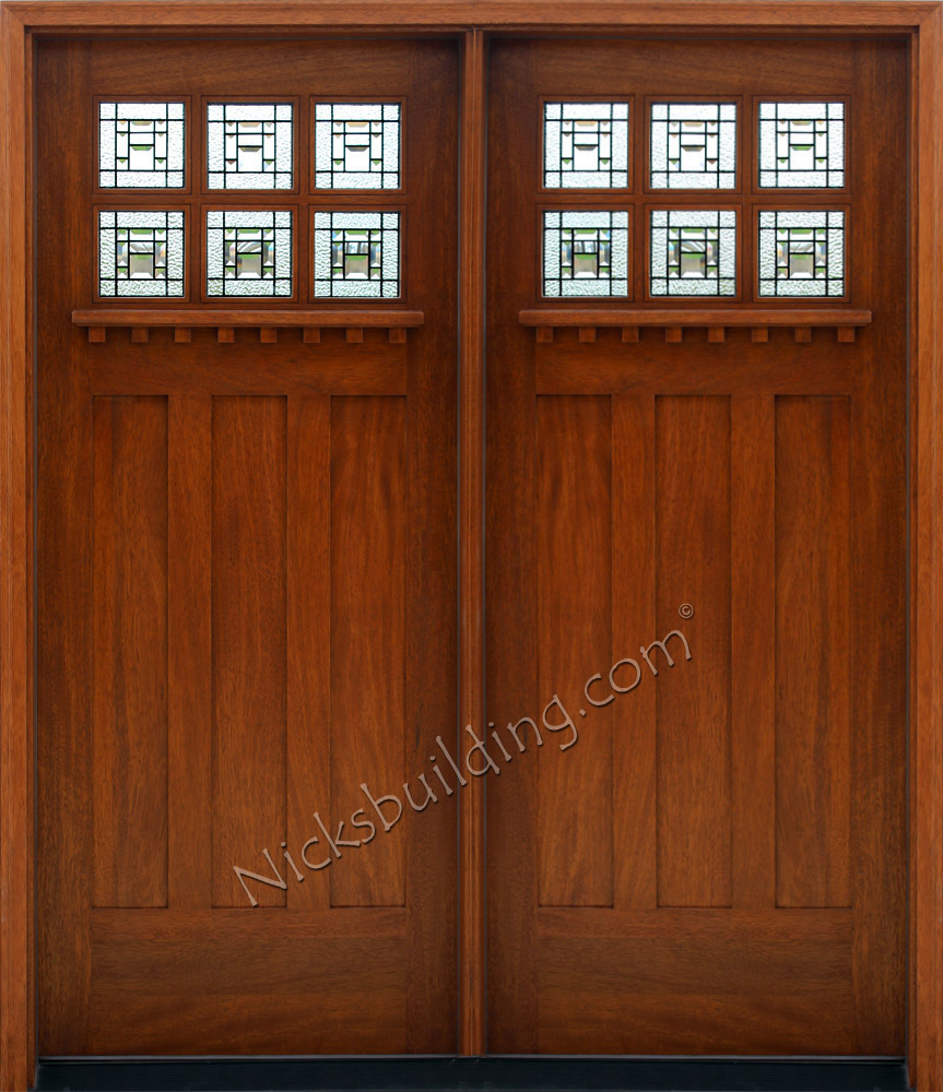 Craftsman style double doors for Small double front doors