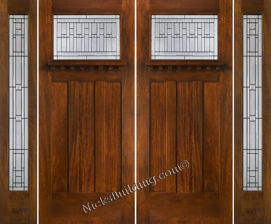 Craftsman double wood door with sidelights for Craftsman entry doors
