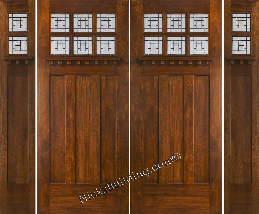 Craftsman Double Wood Door With Sidelights