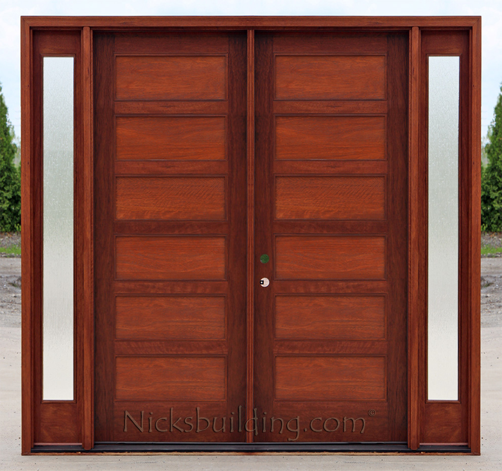 Craftsman double wood door with sidelights ac608 panels with frosted glass planetlyrics Image collections
