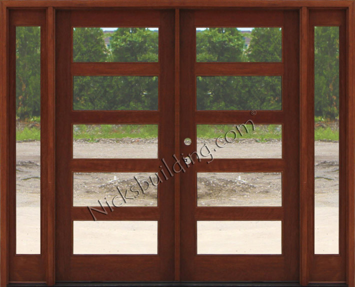 Craftsman double wood door with sidelights for Exterior double doors with glass