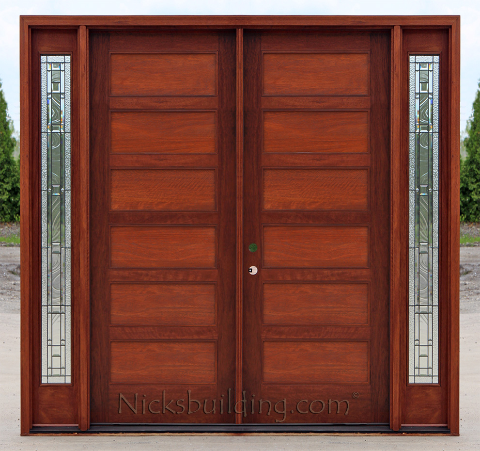 Craftsman double wood door with sidelights for Double wood doors with glass