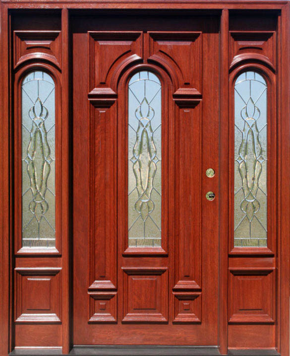 Exterior Front Doors In Cherry Stain