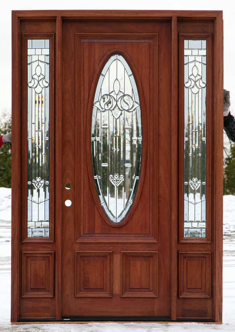 Mahogany Wood Doors With Sidelights Ready To Install