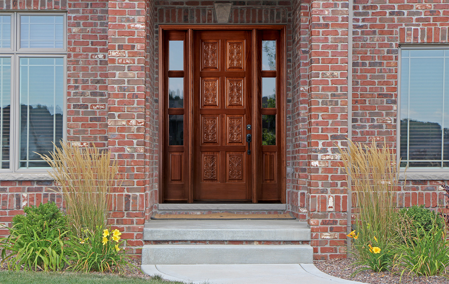 Carved Exterior Doors 8 Panels