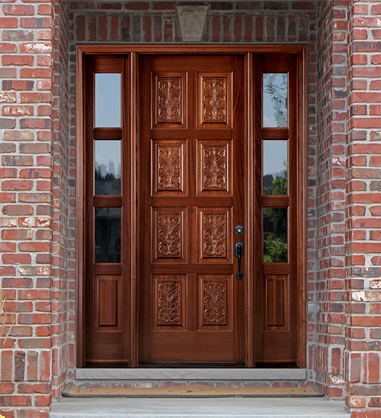 Carved door custom carved wood door with buck and doe for Small exterior doors