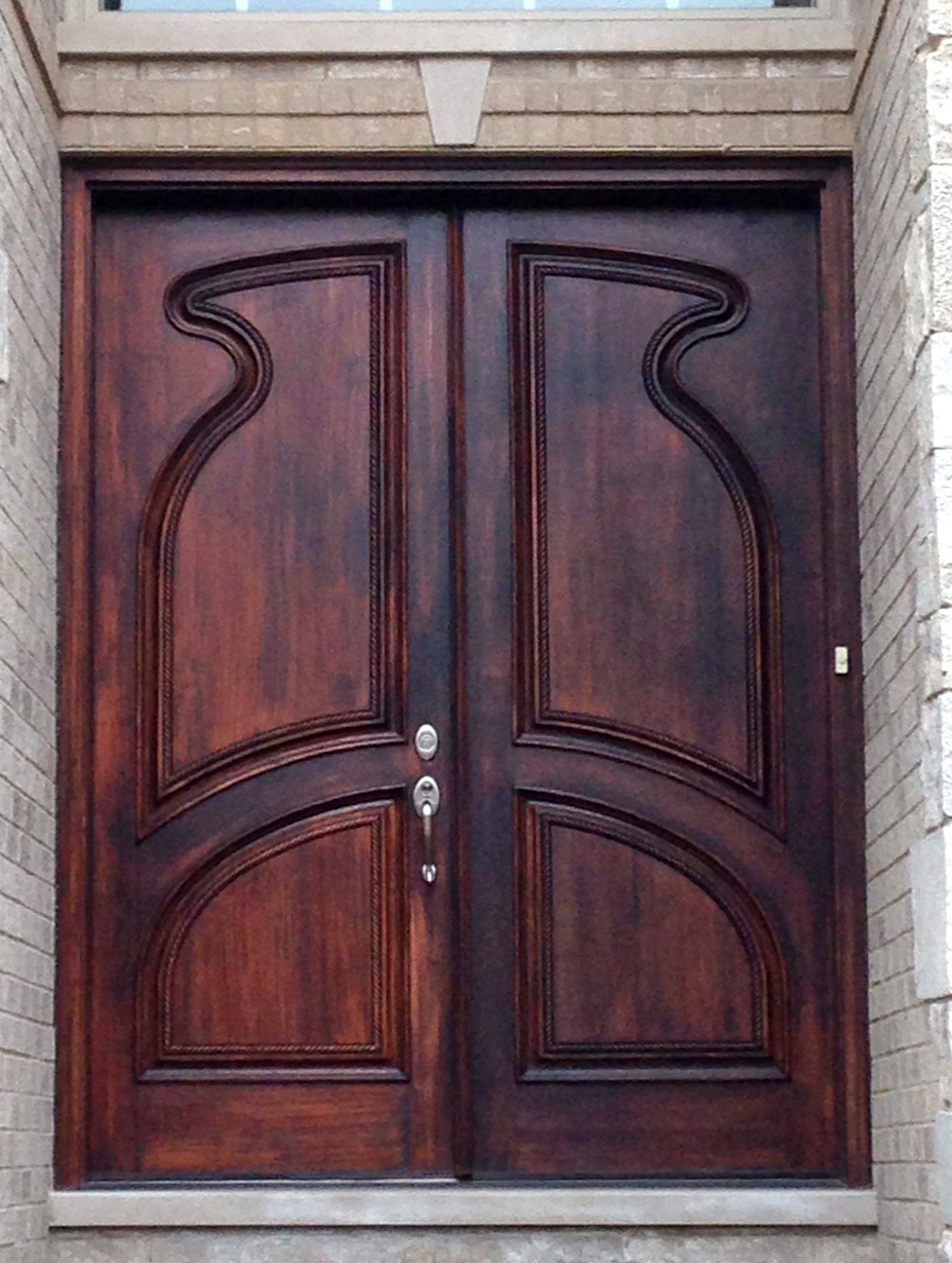Hand carved double doors exterior mahogany for Exterior front entry double doors