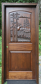 Carved door Elk