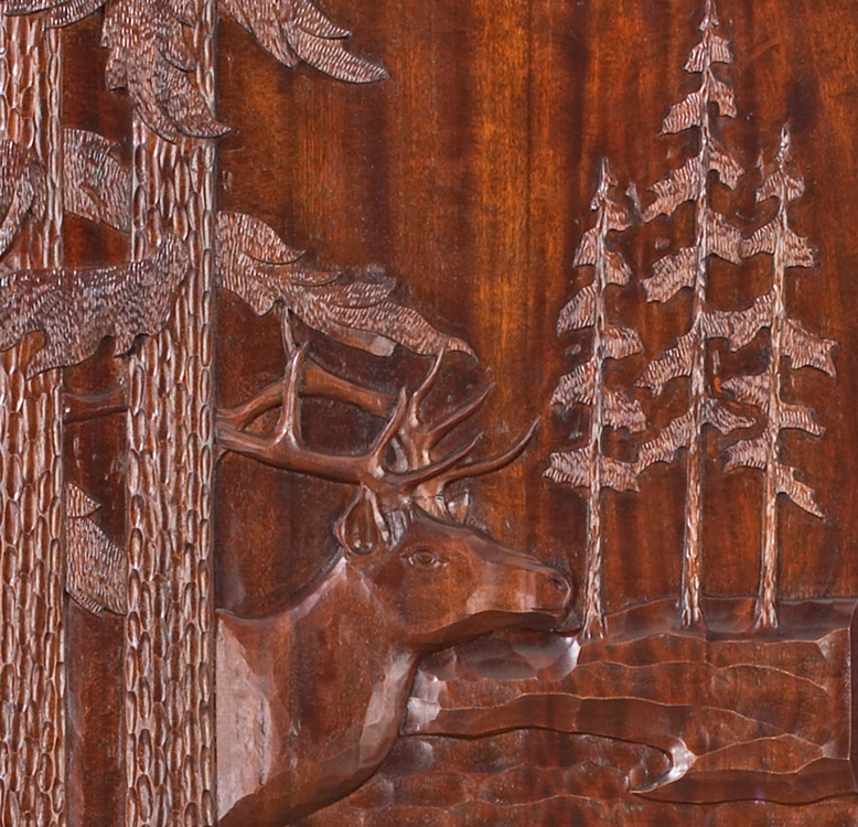 Elk Door Hand Carved Exterior Mahogany Door