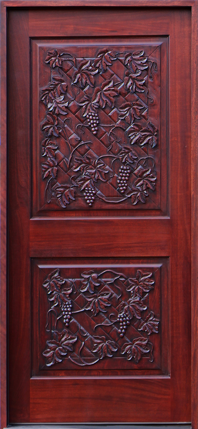 Wine Cellar Doors In Hand Carved Mahogany