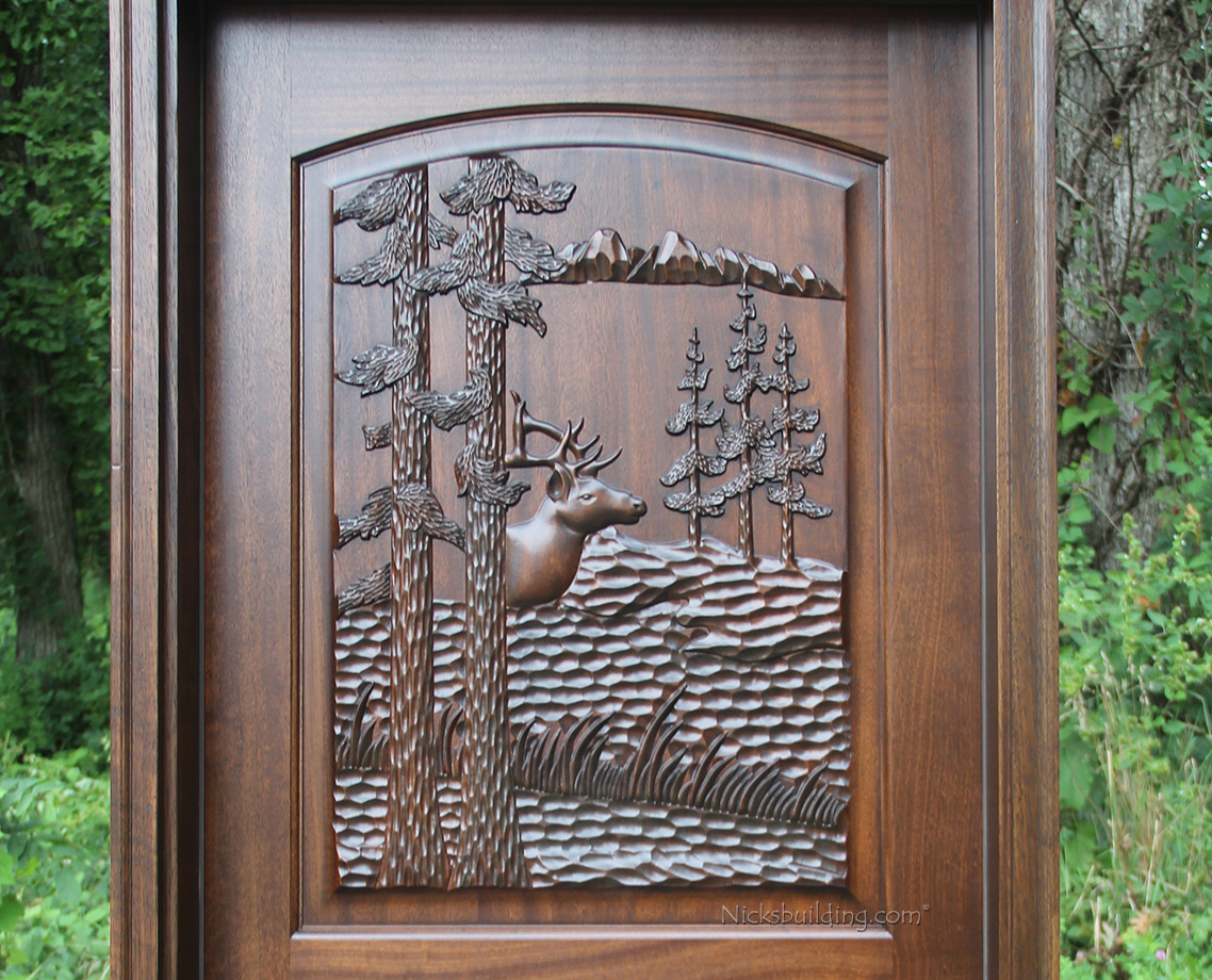 Hand Carved Elk Exterior Doors