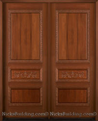 Carved Exterior Double Doors