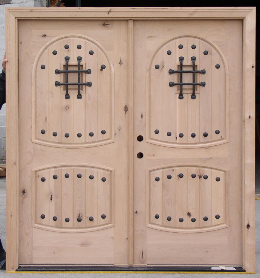Rustic knotty alder double door clearance sale - Knotty alder interior doors sale ...