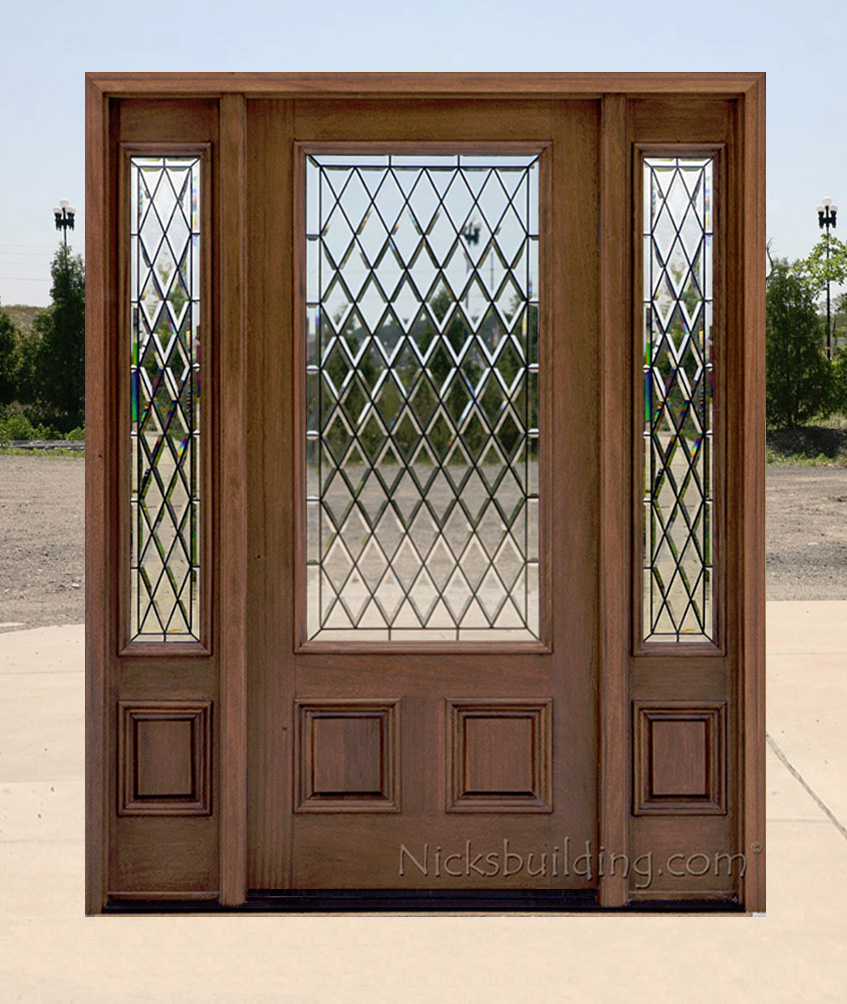 Affordable mahogany front doors with walnut finish for Affordable exterior doors