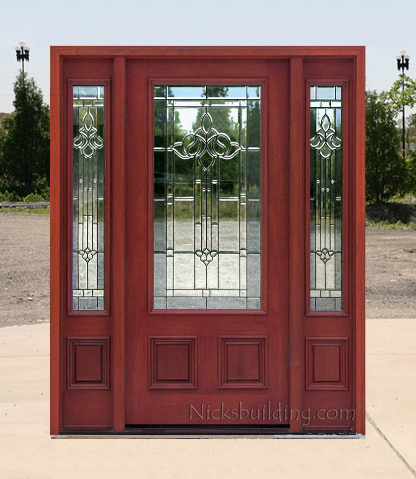 Affordable mahogany front doors with cherry finish for Affordable exterior doors