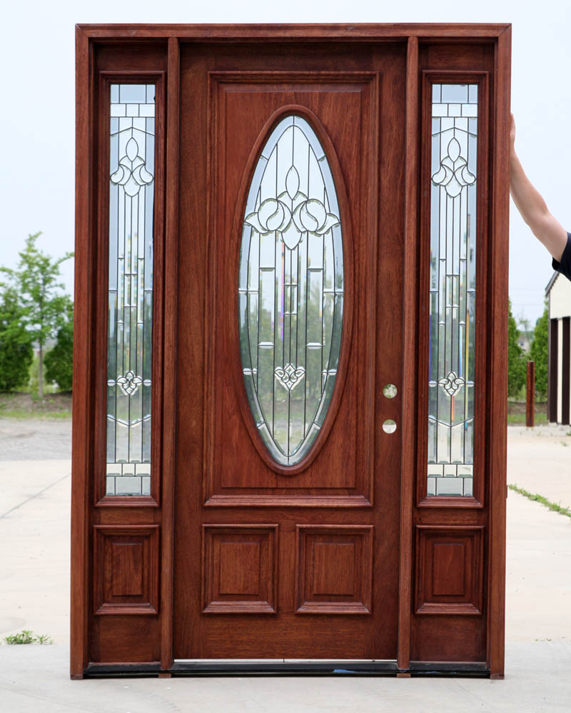 Doors for home pre finished walnut for Exterior front entry wood doors with glass