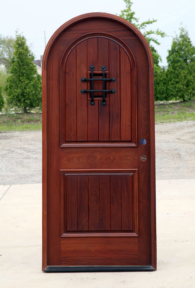 Clearance round top doors with v-groove plank panels half-round door with speakeasy door and grill. & Mahogany Round Top Clearance Pre-Finished Exterior Door with ...