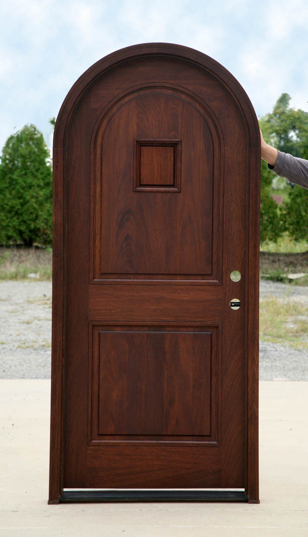 Mahogany Round Top Clearance Pre Finished Entry Door