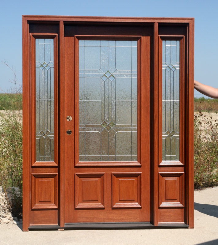 Entry Doors with Sidelites and Carmel Color prefinish