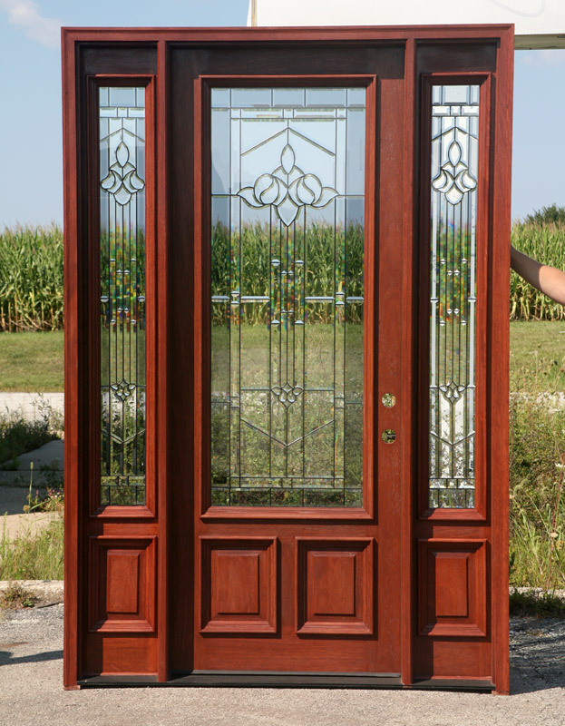 Stained Exterior Doors B250mystic With Cherry Finish