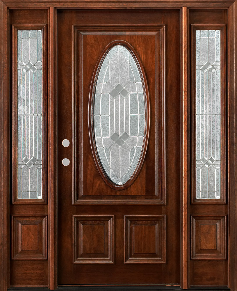 Mahogany exterior doors with sidelights Prehung exterior door with sidelights