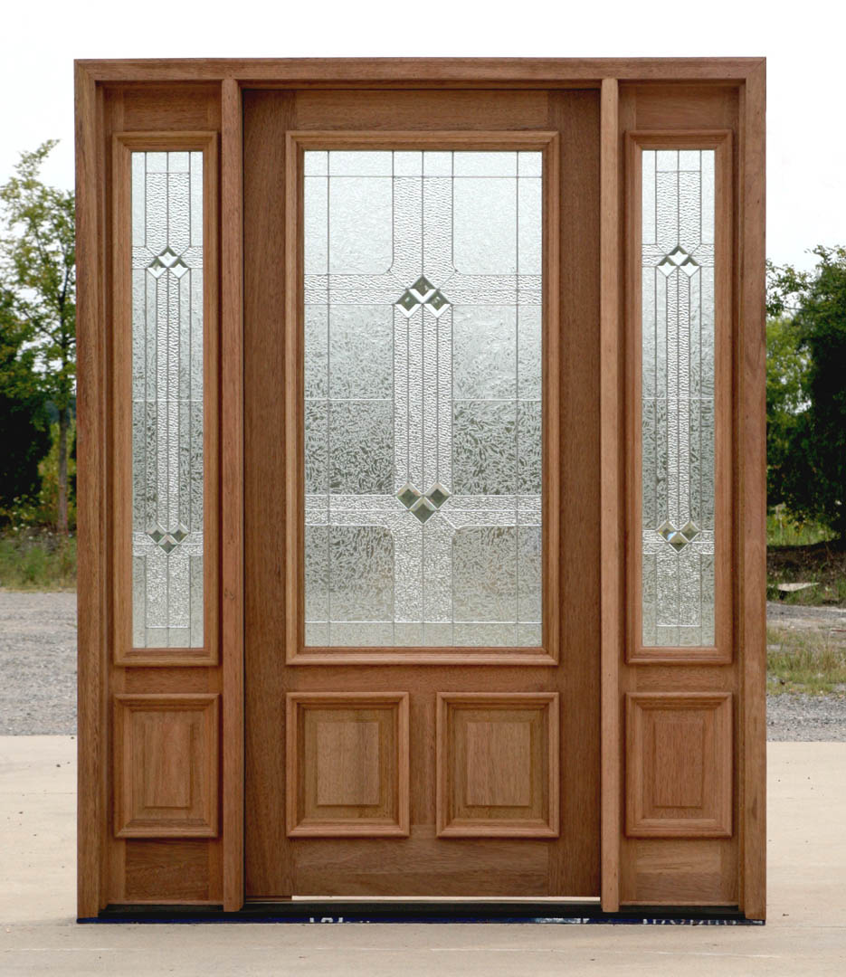 Mahogany exterior entry door with sidelights 200bdr ebay for Front door and sidelights