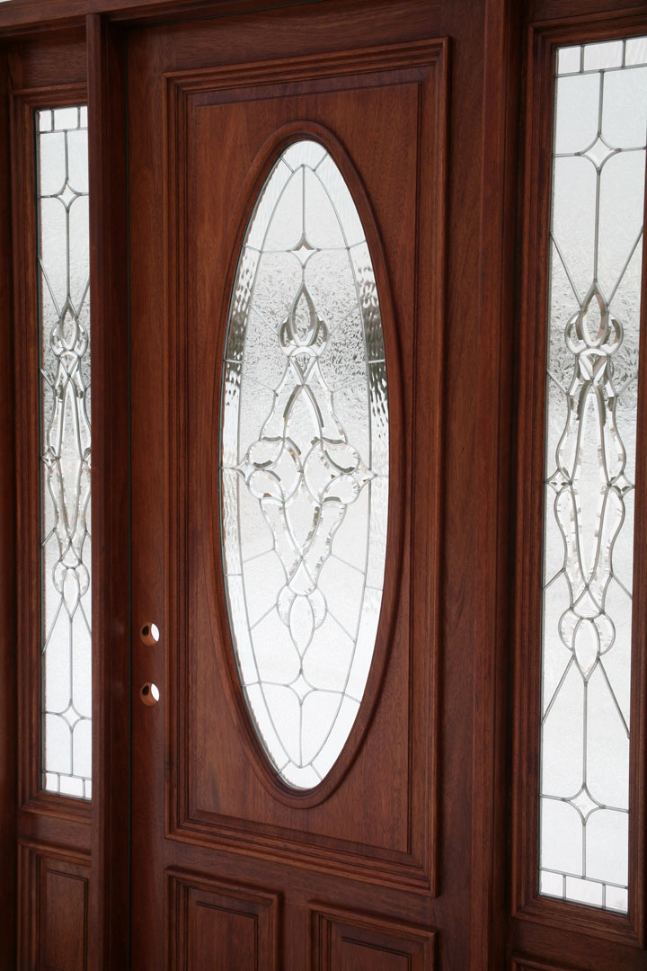 Front doors with oval glass for Baroque glass door