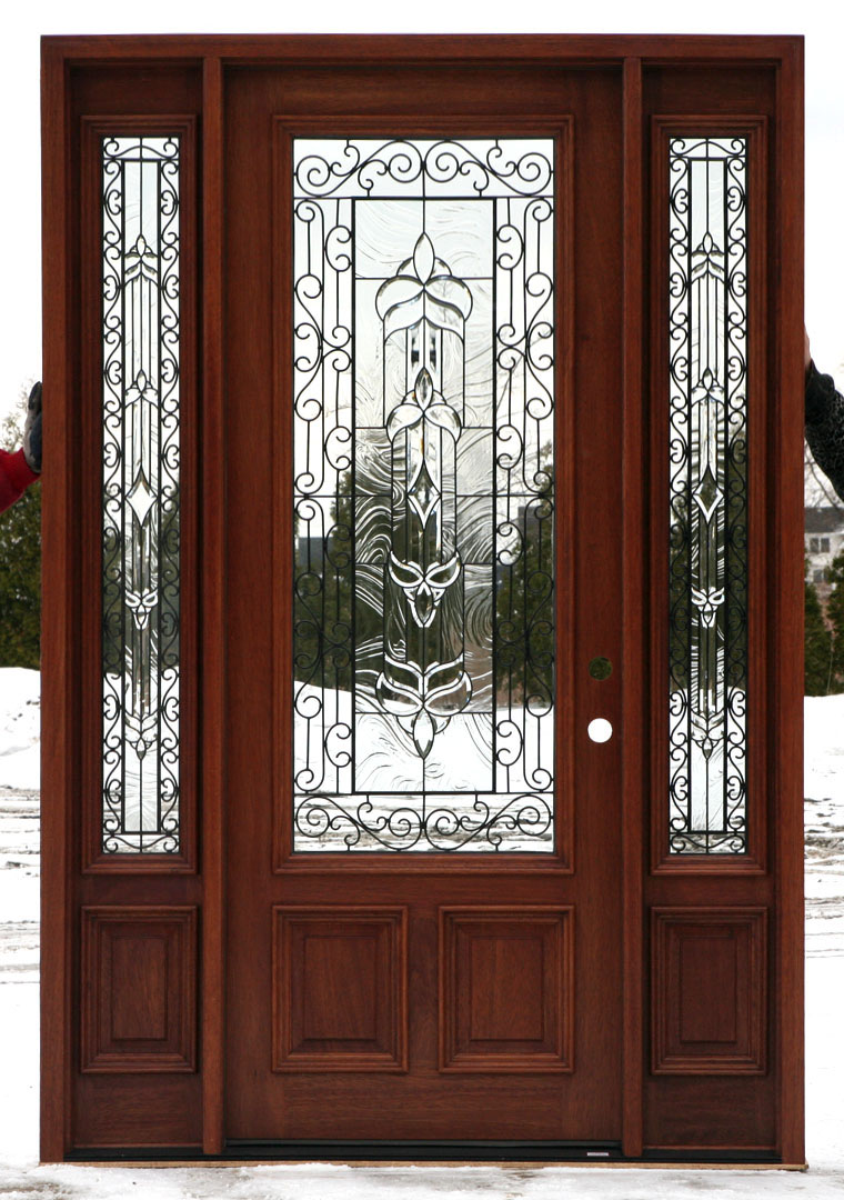 Front doors with wrought iron and glass for Wood front entry doors