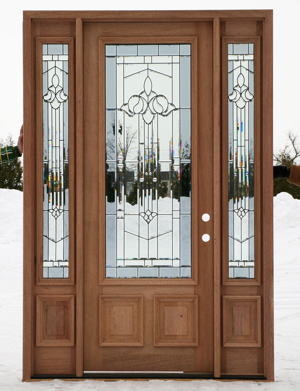 Entry doors with sidelights for Wood front entry doors