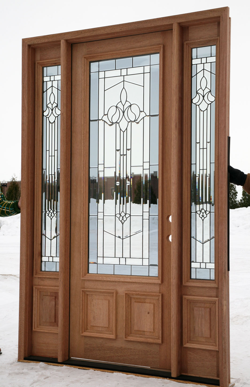 Home entrance door black front doors for Entry door with side windows