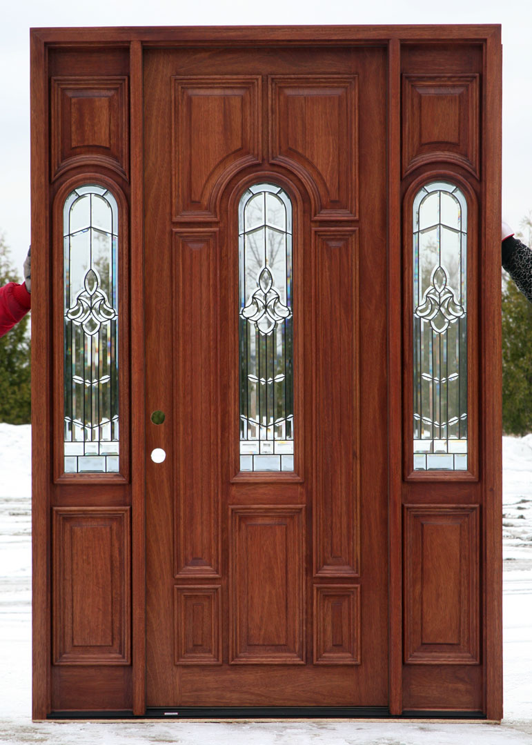 Front doors with beveled glass for External wooden doors