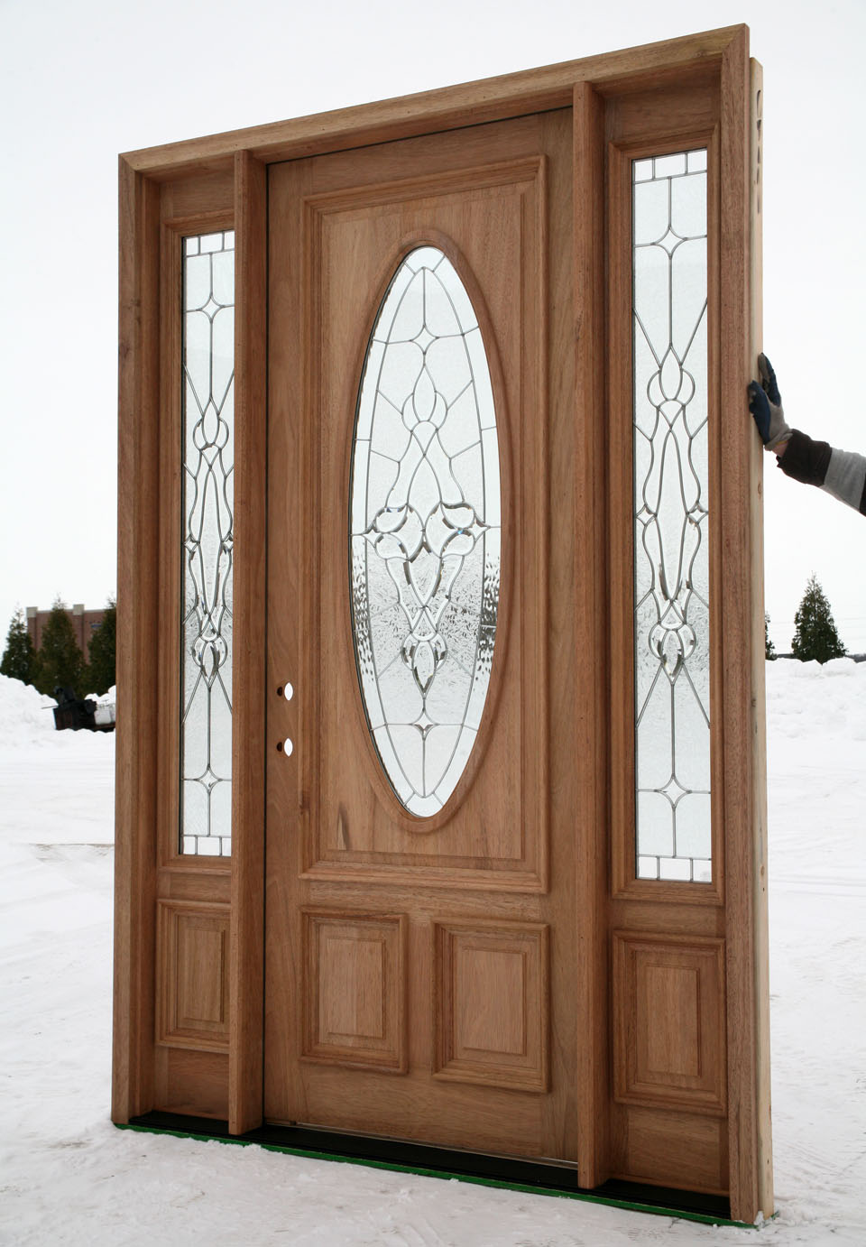 new pre hung exterior entry door with sidelights