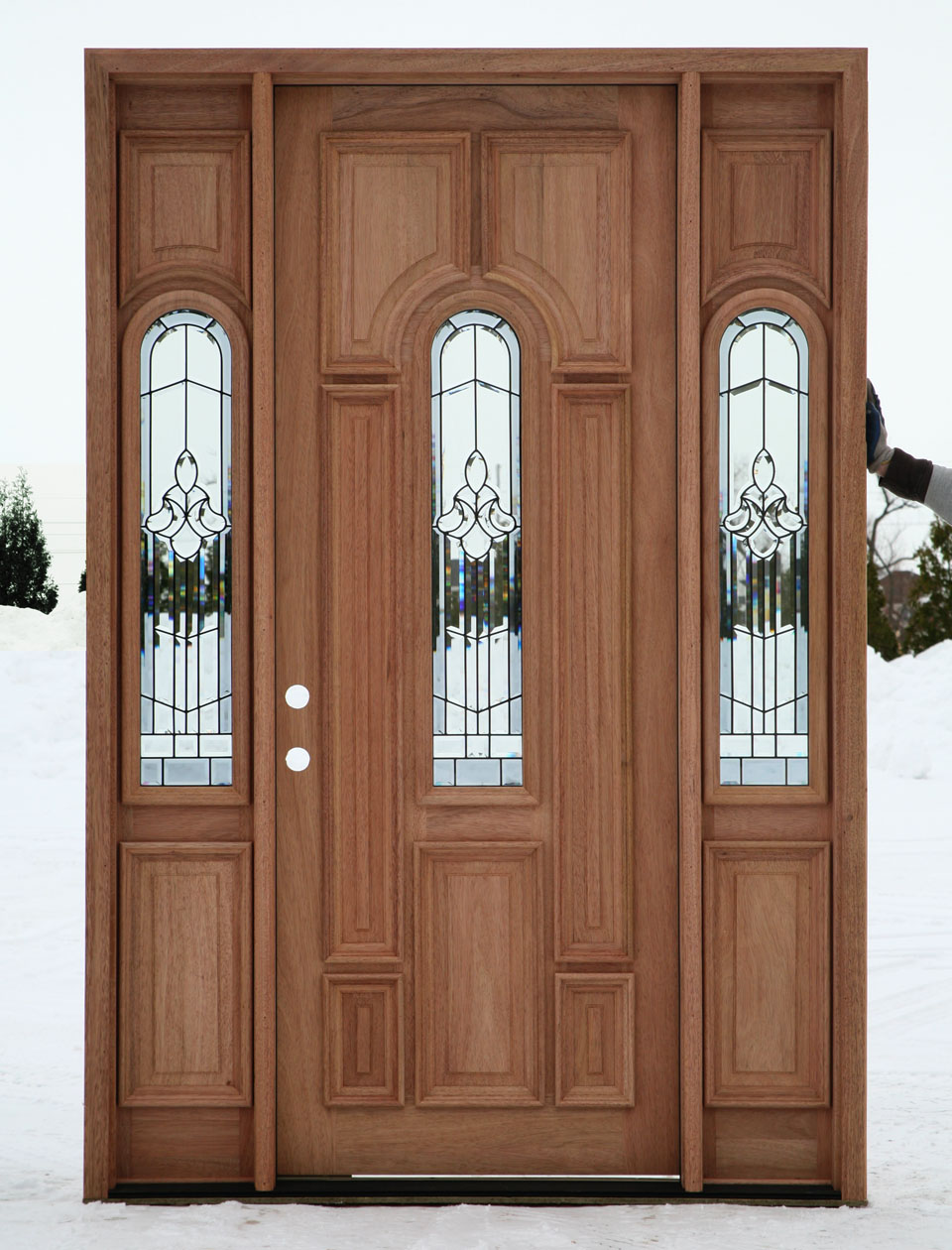 Exterior doors prehung with sidelights for Cheap exterior doors