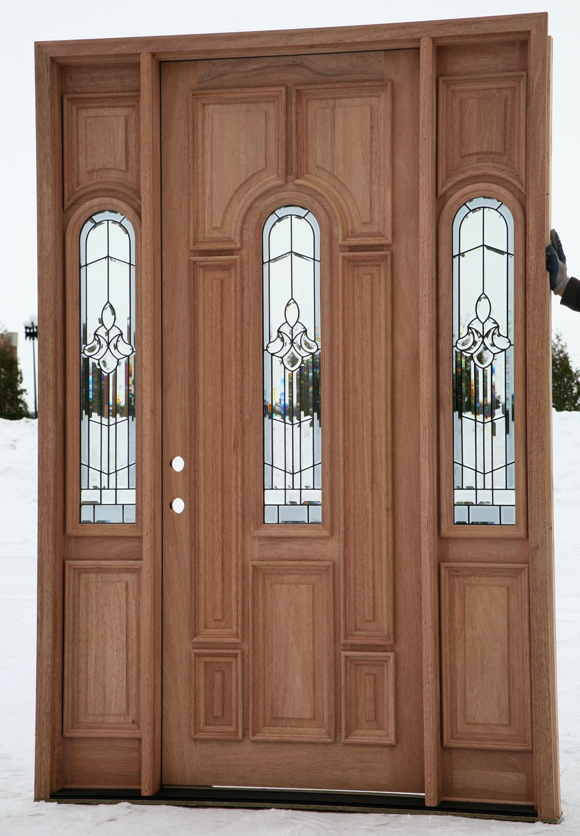 Exterior doors prehung with sidelights for Wood front entry doors