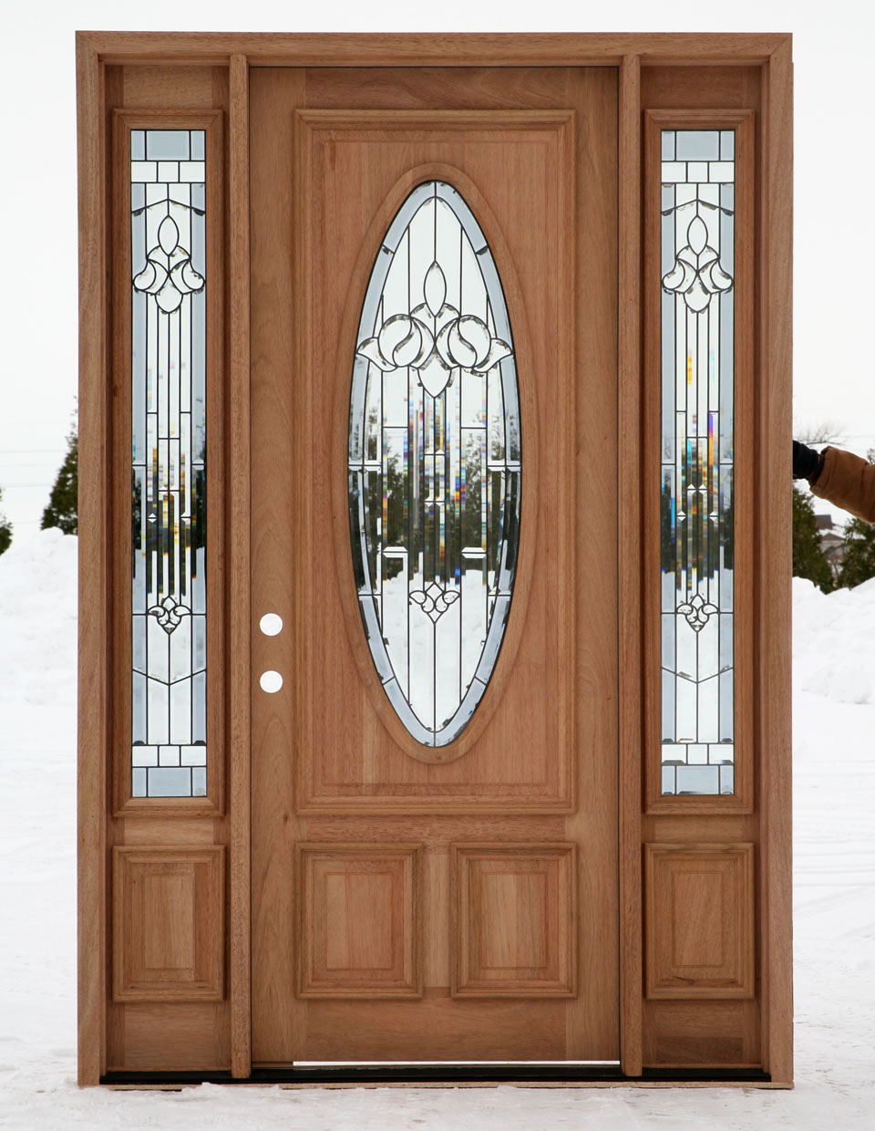 Exterior entry doors with sidelights for Wooden outside doors