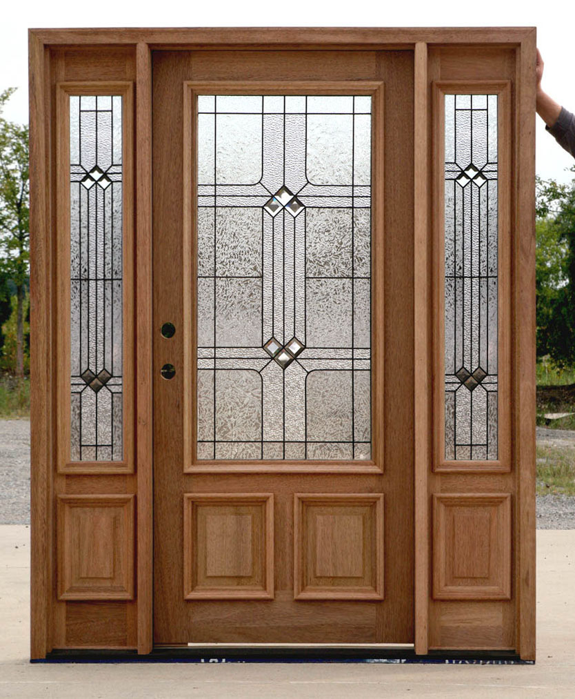 Exterior doors with sidelights builder glass for Exterior front entry doors