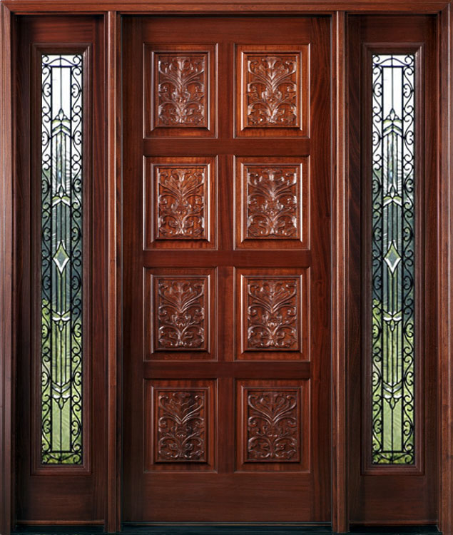 Exterior hand carved doors with wrought iron sidelights for Front door panel design