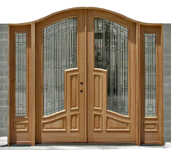 clearance door Bella Mahogany double door with sidelights & Arched Mansion Exterior Double Doors