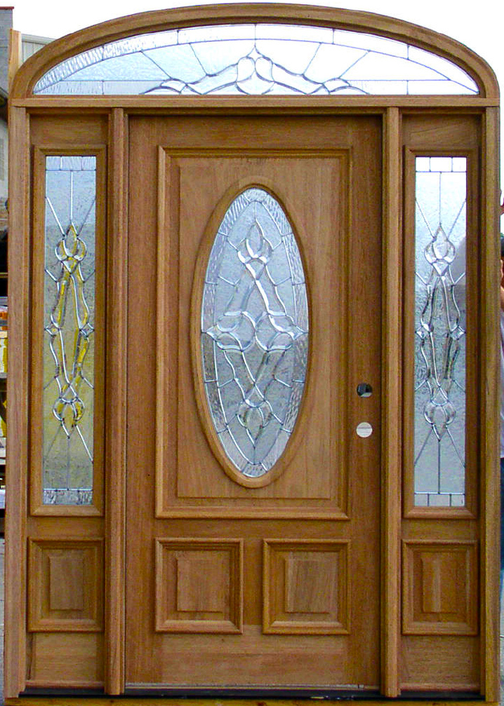 Oval Glass Doors With Arched Transom Window