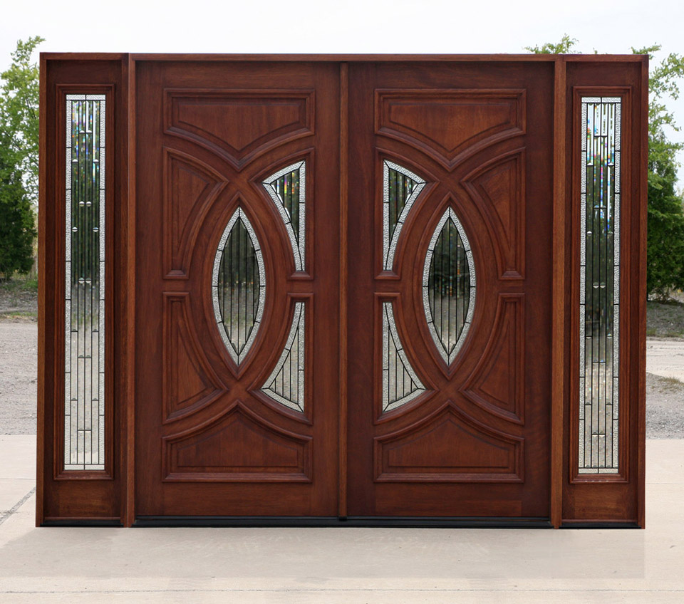 Exterior mahogany double doors in antique cherry finish for Double front entry doors
