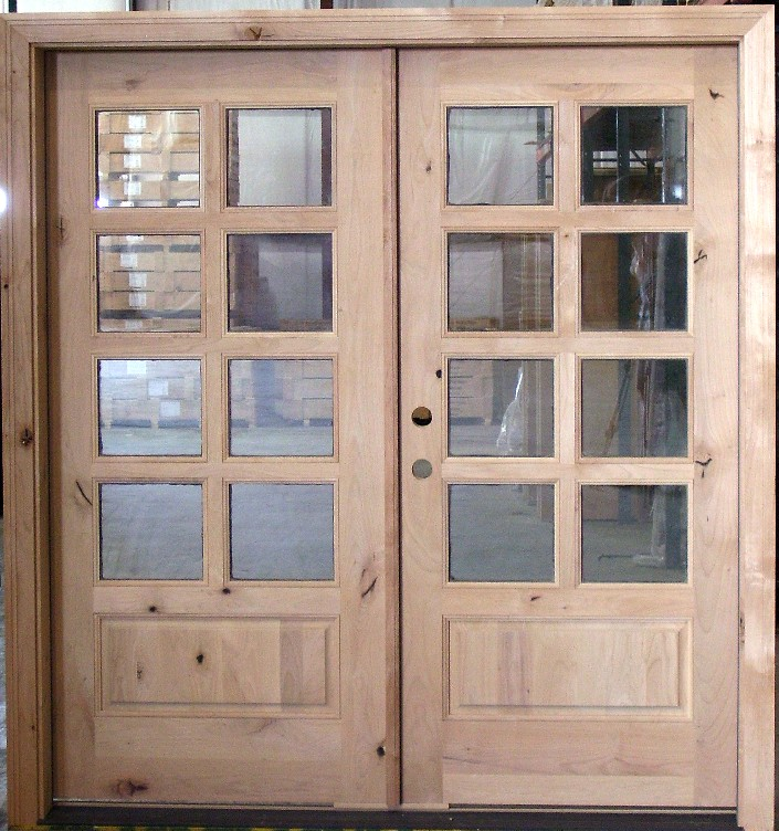 Exterior double door 8 lite rustic knotty alder for Double glazed patio doors sale